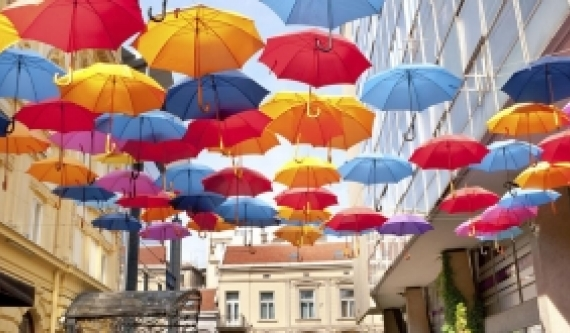 umbrellas in the air