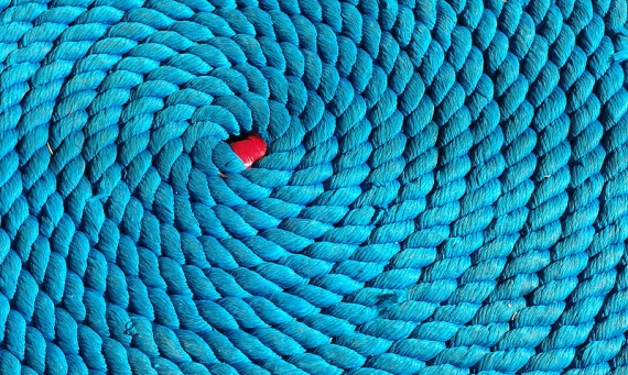 coiled blue rope